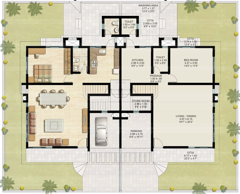 Raheja viva villa project by k raheja corp builder pune Twin bungalow plans